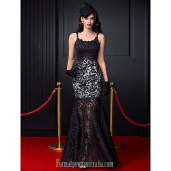 Australia Formal Dress Evening Dress-Black Fit Flare Spaghetti Straps Long Floor-length Lace Dress